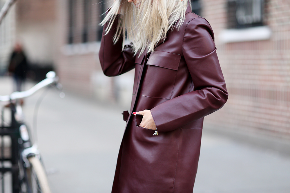 Burgundy leather Zara coat | THEFASHIONGUITAR