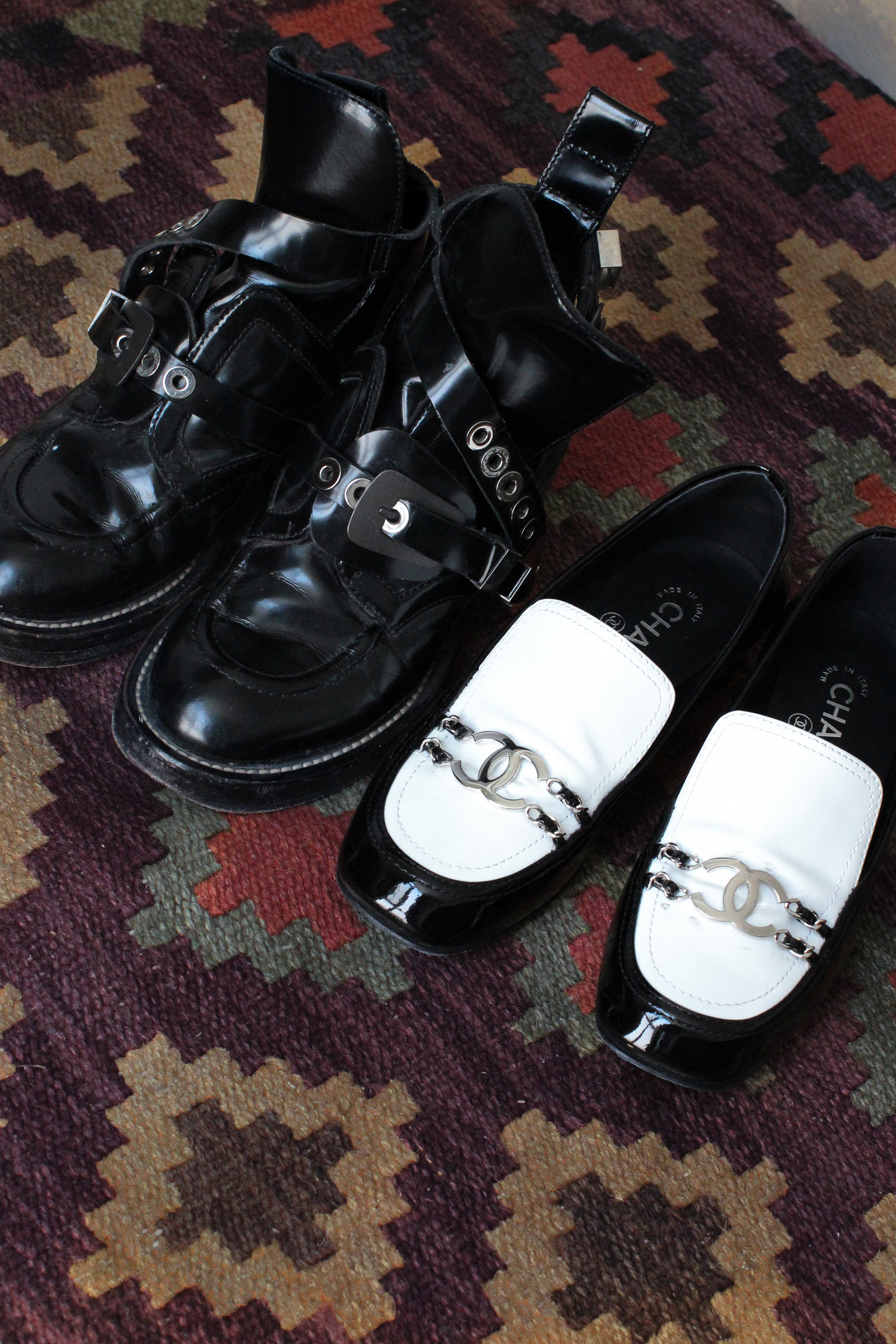 Balenciaga buckle boots Chanel Paris in Rome loafers