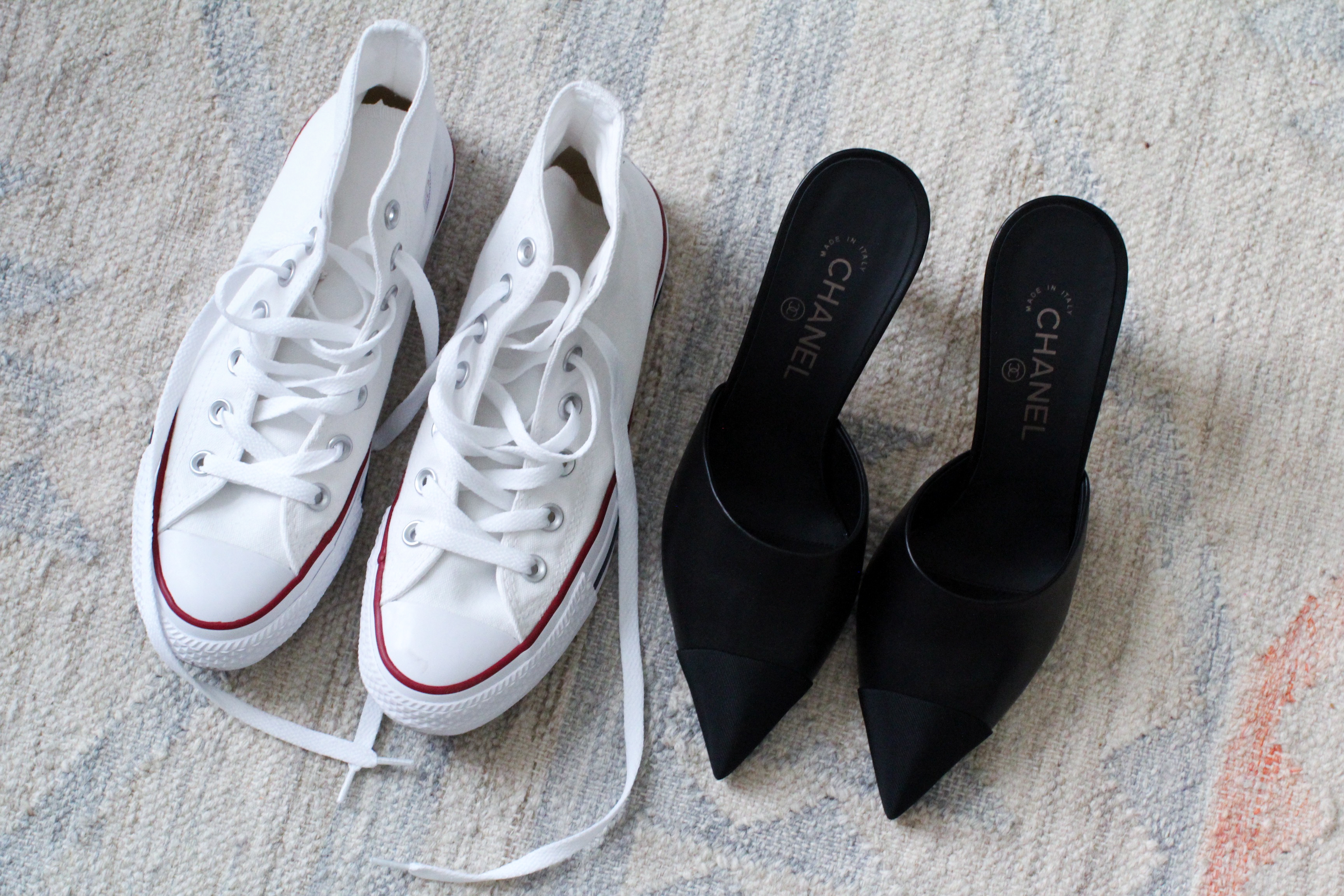 White Converse chucks Chanel mules black
