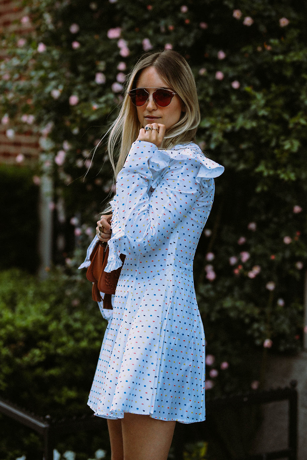 Charlotte Groeneveld from Thefashionguitar wearing Caroline Constas dress and Dior Soreal Pop sunglasses