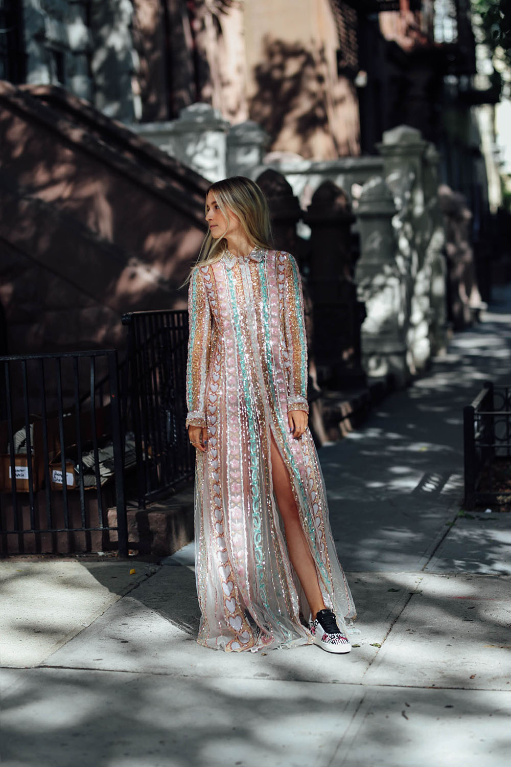 Thefashionguitar Charlotte Groeneveld wearing Valentino Pre-Fall 2017 dress and sneakers