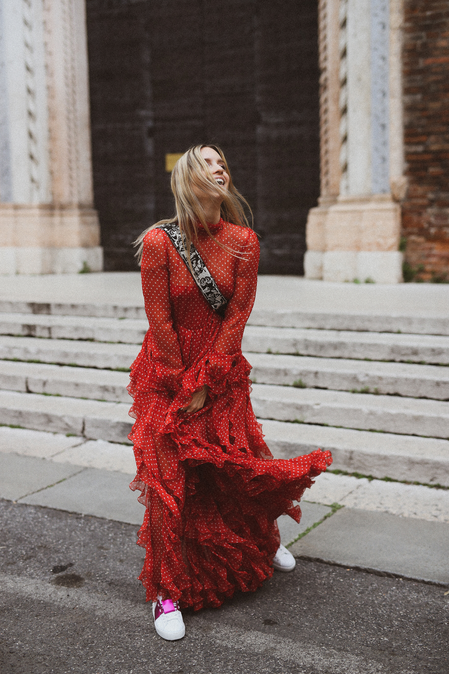 Charlotte Groeneveld in Valentino Pre-Fall 2018 dress for Thefashionguitar