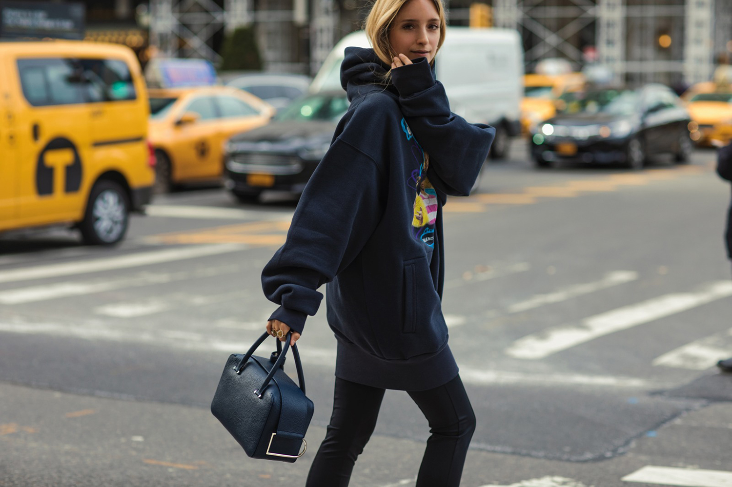 Charlotte Groeneveld in New York wearing Balenciaga and a Delvaux bag